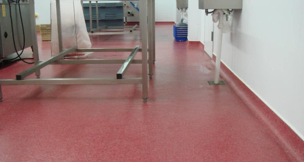 Hygienic meat factory floor