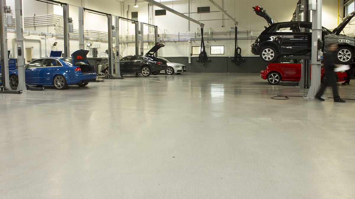 PMMA Flooring in Audi Car Showroom & Garage in Cork, Ireland